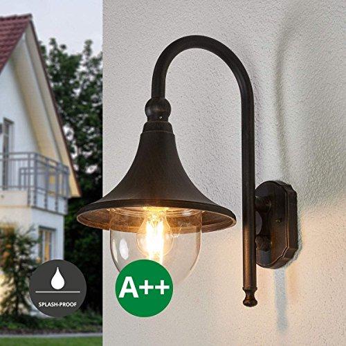 Lampenwelt Wandleuchte außen 'Daphne' (spritzwassergeschützt) (Retro, Vintage, Antik) in Braun aus...