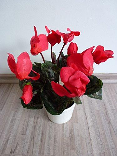Alpenveilchen Seidenblume Kunstpflanze H 27 cm rot 514006-R getopft F69