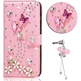 Sunroyal® Coque Samsung Galaxy A3 2016 Portefeuille Swag 3D Bling Glitter Diamand Strass Etui Housse en Prime Simili Cuir pour Samsung Galaxy A3 (A3, 2016 Version) SM-A310F Protection Book-style Diamant Flip Case Cover de Bumper Anti-Choc avec Pink Butterfly Paillette Coquille Arrière - Rose