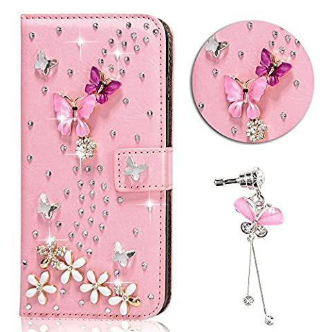 Sunroyal® Coque Samsung Galaxy Grand Prime SM-G530FZ Portefeuille Swag 3D Bling Glitter Diamand Strass Etui Housse en Prime Simili Cuir pour Samsung Galaxy Grand Prime G530 Protection Book-style Diamant Flip Case Cover de Bumper Anti-Choc avec Pink Butterfly Paillette Coquille Arrière - Rose