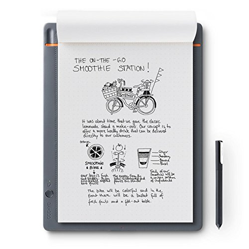 Wacom Bamboo Slate Smartpad A4, Großes Notepad mit Digitalisierungs Funktion inkl. Eingabestift mit Kugelschreiber Mine, Kompatibel mit Android und Apple