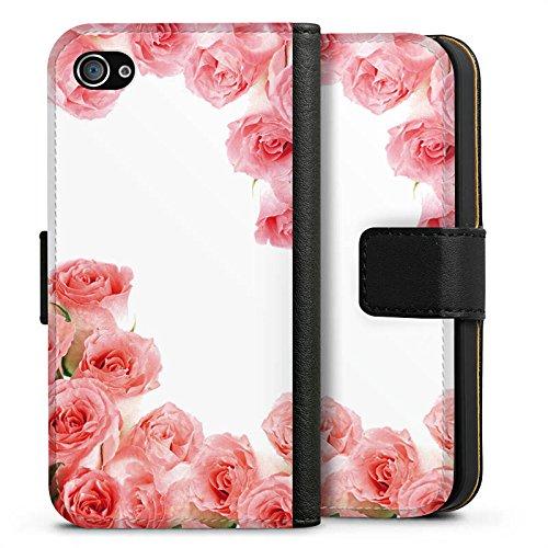 Apple iPhone X Silikon Hülle Case Schutzhülle Rosen Blüten Pink Sideflip Tasche schwarz
