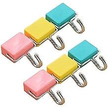 6pcs multi-usages Crochets magnétiques de cuisine magnétique solide Crochets pour clés, Manteau, réfrigérateur et portes Pastel Rose, Jaune, Bleu