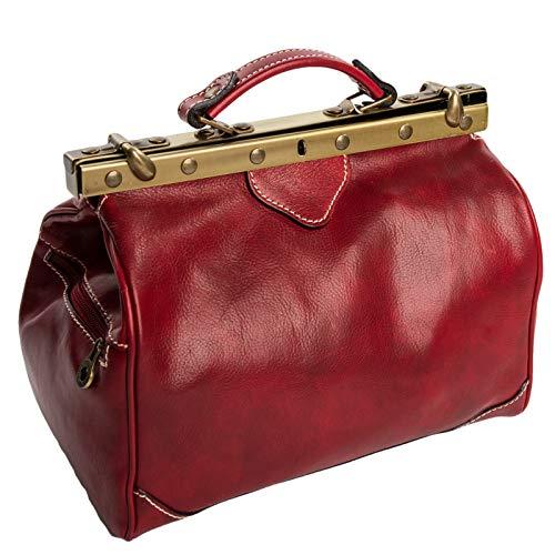 Preisvergleich Produktbild Woman Bags 512 Made in Italy vintage Arzttasche Doktortasche Damentasche Rot echt Leder 621R