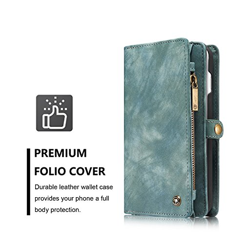 EKINHUI CaseMe Ultimate Functional All-In-One Handgefertigte TRIFOLD LEATHER Abnehmbare IPhone Brieftasche Elegant Finish Case Cover Für IPhone 7 Plus iPhone 8 Plus ( Color : Coffe ) Blue