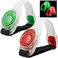 2pcs / pack MAXIN LED bracciale luminosa, riflettente silicone autotelaio, braccialetto LED Glow in the Dark-- sicurezza della fascia di schiaffo per la bicicletta Runing, Jogging ad alta visibilità. (Verde e rosso)