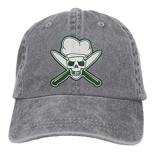 Cupsbags Skull Chef Green Denim Hat Adjustable Men Stretch Baseball Hats
