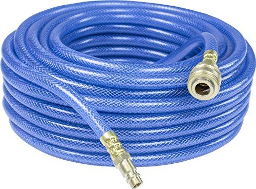 as – Schwabe Druckluftschlauch-Garnitur mit Polyestergewebeeinlage Serie 2050 – 15 m PVC-Druckluft-Schlauch 9 x 3 mm mit Schnellverschlusskupplung & Stecktülle – Blau I 12708