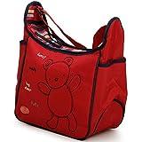 Wickeltasche Ruby rot mit Bär, Wickelunterlage, Schultergurt, Reißverschluss