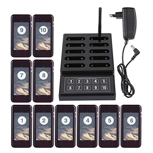 Jacksking Drahtloses Pager-System, 100-240V Restaurant Queuing Calling System Summer 10 Pager für Restaurant Coaster Church Courts (EU) (Das Restaurant-pager Personal Für)