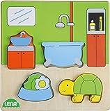 Lena 32143 - Holzpuzzle Bad, Kinderpuzzle mit Grundplatte 14 x 14 cm und 4 Puzzleteilen, Teile und Platte aus 100% FSC Holz, Puzzlespiel für Kinder ab 18+ Monaten, Legespiel für Kleinkinder