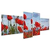 ConKrea Bild auf Leinwand Canvas–Gerahmt–fertig zum Aufhängen–Rote Mohnblumen–BLUMEN NATUR–Panorama Landschaft 170x70cm