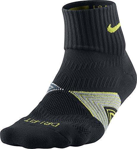 Nike one quarter-socks chaussettes de running laisse tissu dri fit Noir/Gris/Jaune
