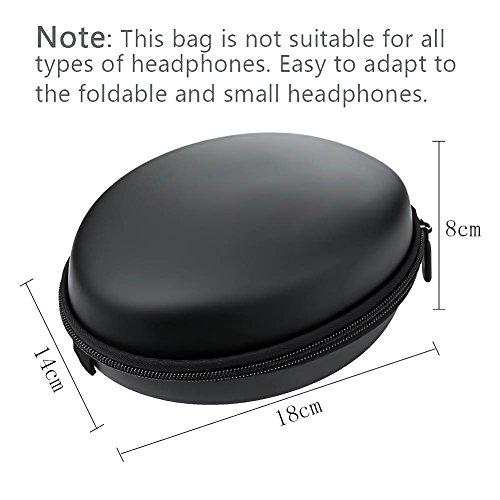 Ciaoed Kopfhörer Tasche Case on Ear Schutztasche EVA Reißverschluss Mini Runden Tragetasche Schwarz - 5