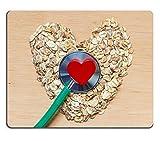 luxlady Gaming Mousepad Bild-ID: 31863008Diät Healthcare Concept Hafer Müsli Herz Geformte Stethoskop auf Holz Oberfläche Lebensmitteln für Tieferlegungsfedern Cholesterin Schützen Herz