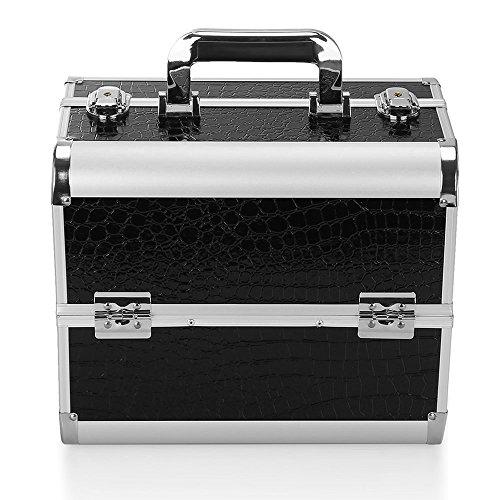 Hotrose Beauty Case Kosmetikkoffer Professionelle Schminkkoffer zur Aufbewahrung 32 × 21 × 26.5 cm (Schwarz)