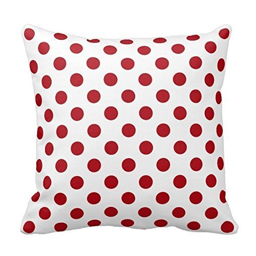 ZKHTO Dark Red and White Polka Dots Design Throw Pillow Cover Case Decorative Square for Home Sofa Two Sides,Cover Size:16 x 16 Inch(40cm x (Dark Fairy Halloween Ideen)