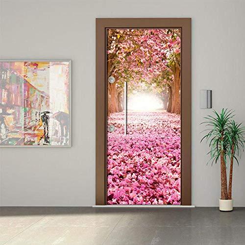 - Wohnkultur 3d Tür Aufkleber Druck Kunst Blume Pflanze Selbstklebende Wand Kleiderschrank Renovierung Aufkleber Bild Erneuern Wasserdichtes Papier - DIY Druck Vinyl Abnehmbare ()