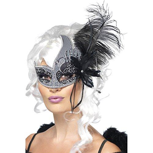 Amakando Masque Loup Vénitien avec Plumes Opéra Bal de Loup Masque de Carnaval Venise Déguisement Accessoire