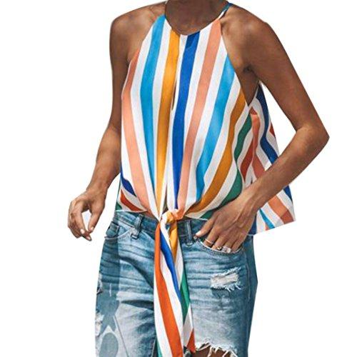 Trada Sommerhemd Sommerbluse, Damenmode Frauen Mode Multicolor Weste Gestreiften Tops Krawatte Tank Shirt Bow Lose Hemd Blusen Haushemd Bluse Frauen Blusenshirt Oberteile (S, Mehrfarbig)