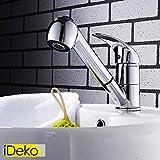 iDeko® Robinet Mitigeur lavabo robinet salle de bain avec Douchette Extractible en laiton avec Flexible x 2 Chrome