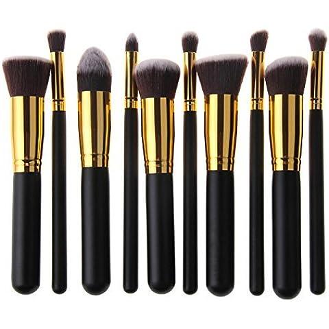 BlueBeach® 10 PCS del maquillaje de Kabuki sintético de primera calidad Kit sistema de cepillo del Cosmética Fundación mezcla Blush Delineador de ojos del polvo de cara del cepillo del cepillo del maquillaje (Negro y
