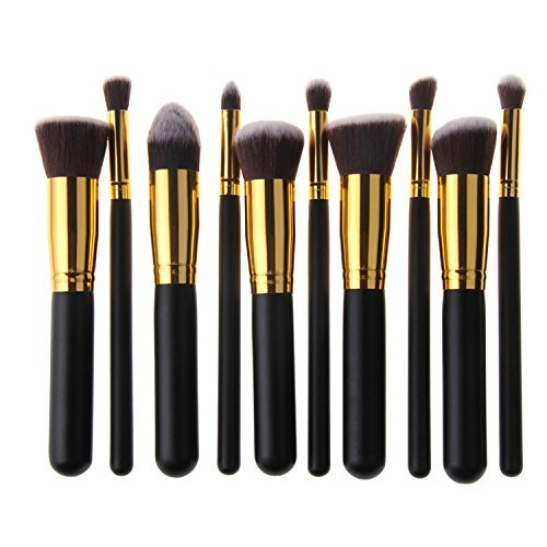 Stylemaster Professional Premium synthétique maquillage Kabuki Brush Set Cosmétique Fondation Blending Blush Eyeliner Poudre pour le visage Brosse Kit Maquillage Brush ( 10PCS Noir + or )