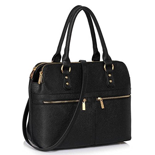 - 51CGhlzIT4L - Womens Handbags Ladies Designer Shoulder Bag Faux Leather 3 Compartments Tote New Celebrity Style Large