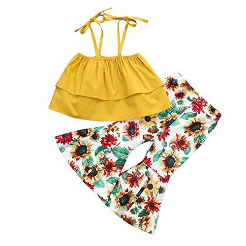 HAOKTY HAOKTY Baby Kinder Mädchen Schulter Crop Tops + Schlaghosen Hosen Set Kinderbekleidung Blumen Drucken Kleidung Sommer Outfits (80)