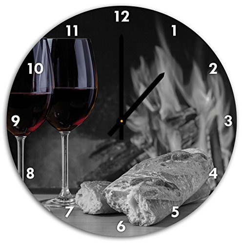 Stil.Zeit Baguette Vino Wein Alkohol Picknick schwarz/weiß, Wanduhr Durchmesser 48cm mit schwarzen Spitzen Zeigern und Ziffernblatt -