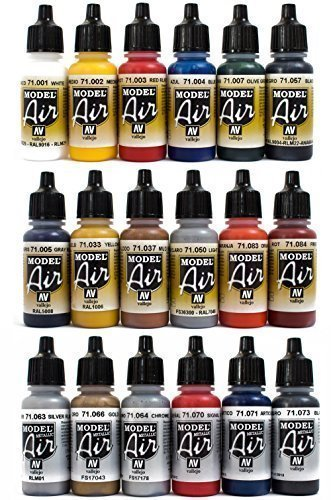 Airbrush Farben 18 x 17 ml Vallejo Model Air Basis Bunt Metallic Farben-Set Airbrushfarben (Color Tattoo Metal)