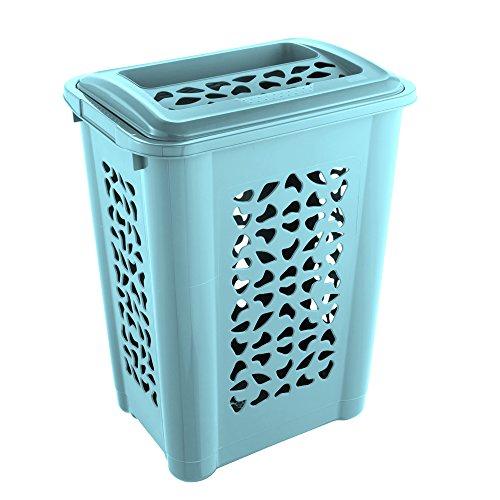 keeeper Wäschebox mit Einwurfschlitz und aufklappbarem Deckel, Luftdurchlässig, 60 l, Per, Hellblau