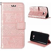 Samsung Galaxy J5 2017 funda,Voguecase Cuero (elefante-oro rosa) Carcasa Funda Función de Soporte Cover Tapa Case Billetera con Tapa para Tarjetas+ Gratis aguja de la pantalla stylus universales