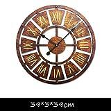 GZ LOFT Rétro Industriel Style Décoration Murale Horloge Murale, Café Magasin De Vêtements Salon Décoration Murale Horloge En Fer Forgé (Couleur : A)...
