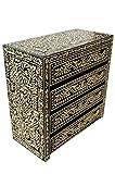 Orientalische Kommode Sideboard Abu 90cm Schwarz Weiß   Orient Vintage Kommodenschrank Orientalisch Handbemalt   Indische Landhaus Anrichte aus Holz   Asiatische Möbel aus Indien