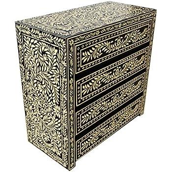 Orientalische kommode sideboard dilhan 90cm schwarz wei for Sideboard orientalisch