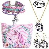 Defrsk Jewellry Set for Unicorn Gift for Girls Friendship Bracelet Include Necklace Stud Earrings Storage Bag