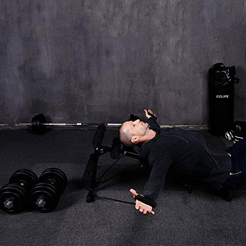 HANTELBANK BAUCHTRAINER RÜCKENTRAINER BANK SEILEN HANTELBANK TRAININGSBANK FITNE Krafttraining & Gewichte Fitness & Jogging