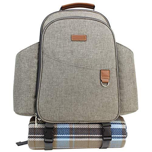 HappyPicnic Picknick-Rucksack, für 4 Personen, mit leichtem Aluminiumgriff, Isolierte Wein-Tragetasche, XL, wiederverwendbar, für Outdoor, Reisen, Camping 1