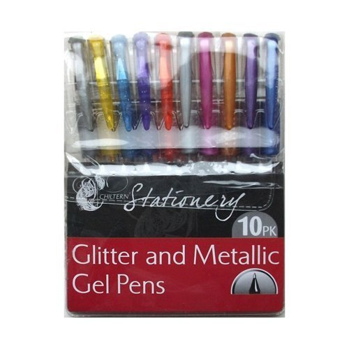 10 Glitter and Metallic Gel Pens - Stationery