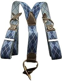 Bretelles à boutons losanges bleu