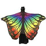 Lenfesh Adulto Mujer Novedad Atractiva Alas de mariposa grandes de color arco iris accesorios hada Chal Bufanda de fiesta elfo hadas (Multicolor #1)