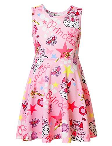 Jxstar Kleine Mädchen Prinzessin Kleid Gedruckt für Skater Königin Magic Castle Muster Ärmelloses Kleid Schloss 110 (Angel Dress Up Für Kinder)