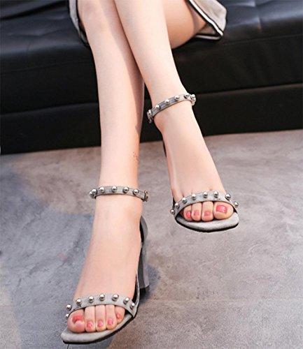 Öffnen Zehen hochhackigen Sandalen Frauen Art und Weise der reizvollen Frauen Sandalen Schuhe Arbeitsplatz Grey