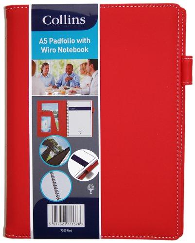 Collins - Carpeta tamaño A5 con cuaderno, color rojo