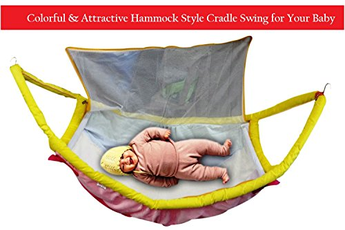 Hi-Quality Colorful and Attractive Hammock Style Cradle Swing/Jhoola for Your Baby - With Attached Mosquito Net Cover