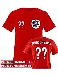 Kinder Fußball T-Shirt bedruckbar - WUNSCHNAME & NUMMER - WM / EM / ÖSTERREICH - Rundhals Tshirt für Mädchen 6 Jungen in Weiß u. Rot