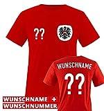 TRIKOT - AT - WUNSCHDRUCK - Kinder T-Shirt - Rot / Weiss-Schwarz Gr. 98-104