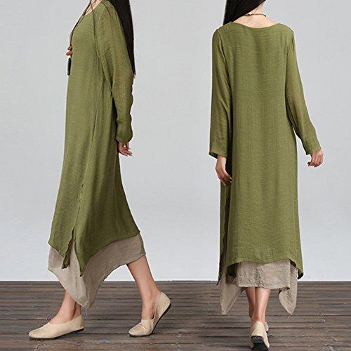 Chinatera Femme Casual Maxi Robe en Coton Lin Size Plus Robe Lâche Vert