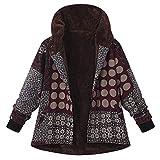 Amphia Winterjacke Kapuzenjacke Hoodies Baumwollmantel - Plus Size Frauen mit Kapuze Langarm Vintage Damen Fleece Dicke Mäntel Reißverschluss Mantel